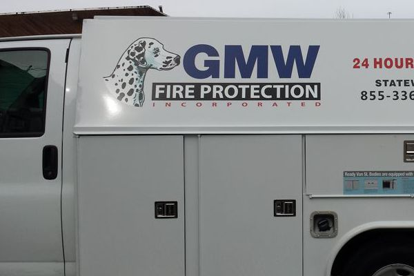 Cut Vinyl Logo on GMW Utility Truck